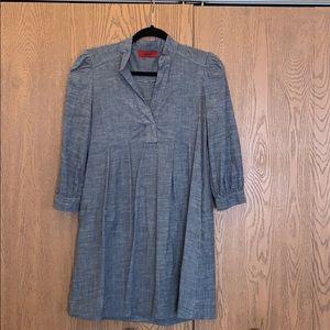 Long, Gray Blue, short sleeves